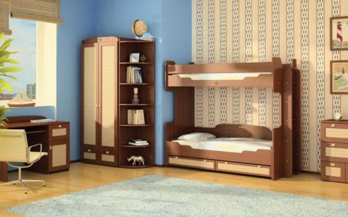 Детская-17 Кровать двухъярусная 2100*750*1700 Стол 1200*750*600 Шкаф 1200*2100*500