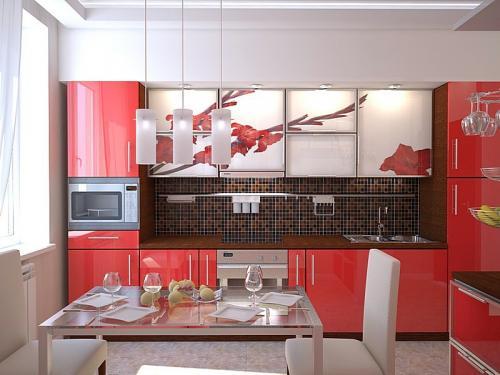 Кухня с фотопечатью-015