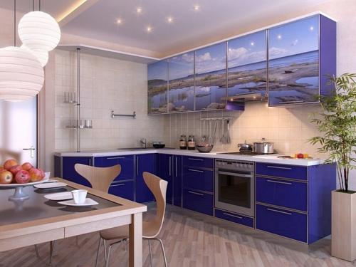 Кухня с фотопечатью-037