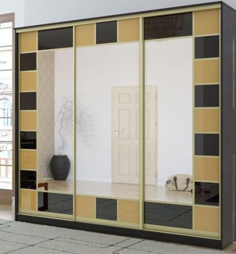 Шкаф-купе-Л72 (фасад: стекло тонированное плёнкой, зеркало)